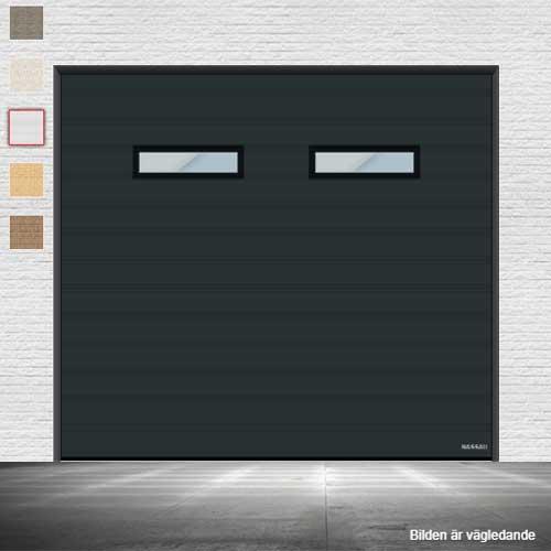 Garageport i antracitgrå med vision fönster